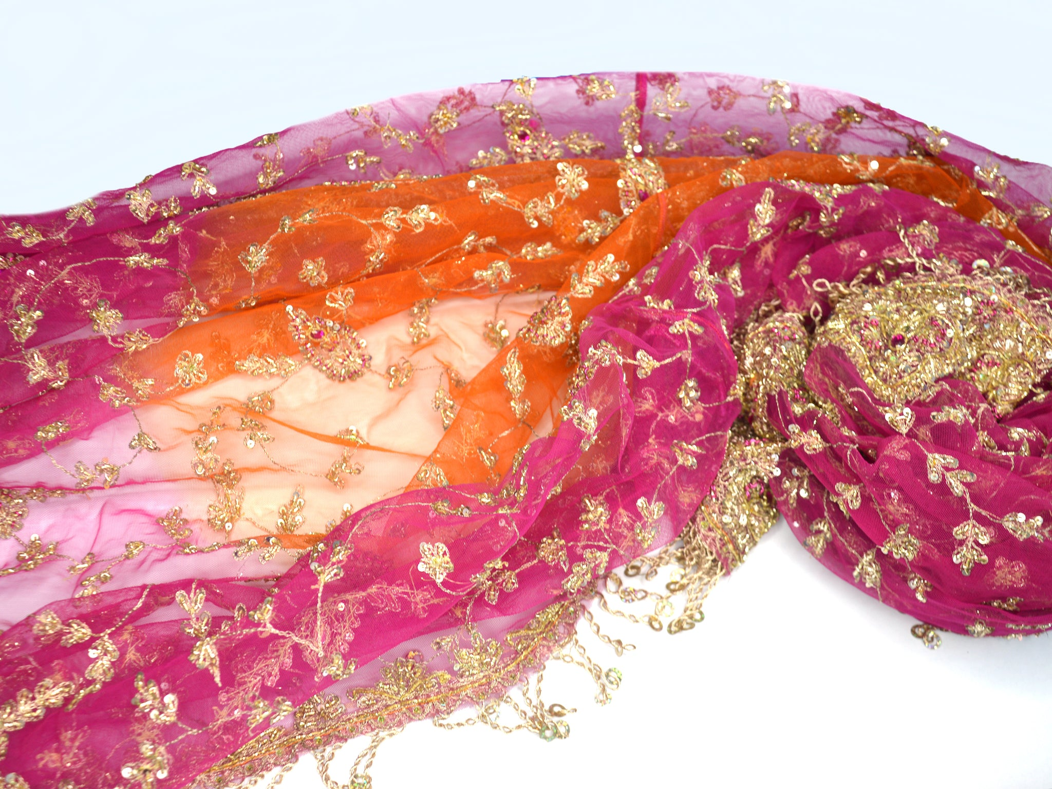 large wedding shawl, pink, orange, gold fringe