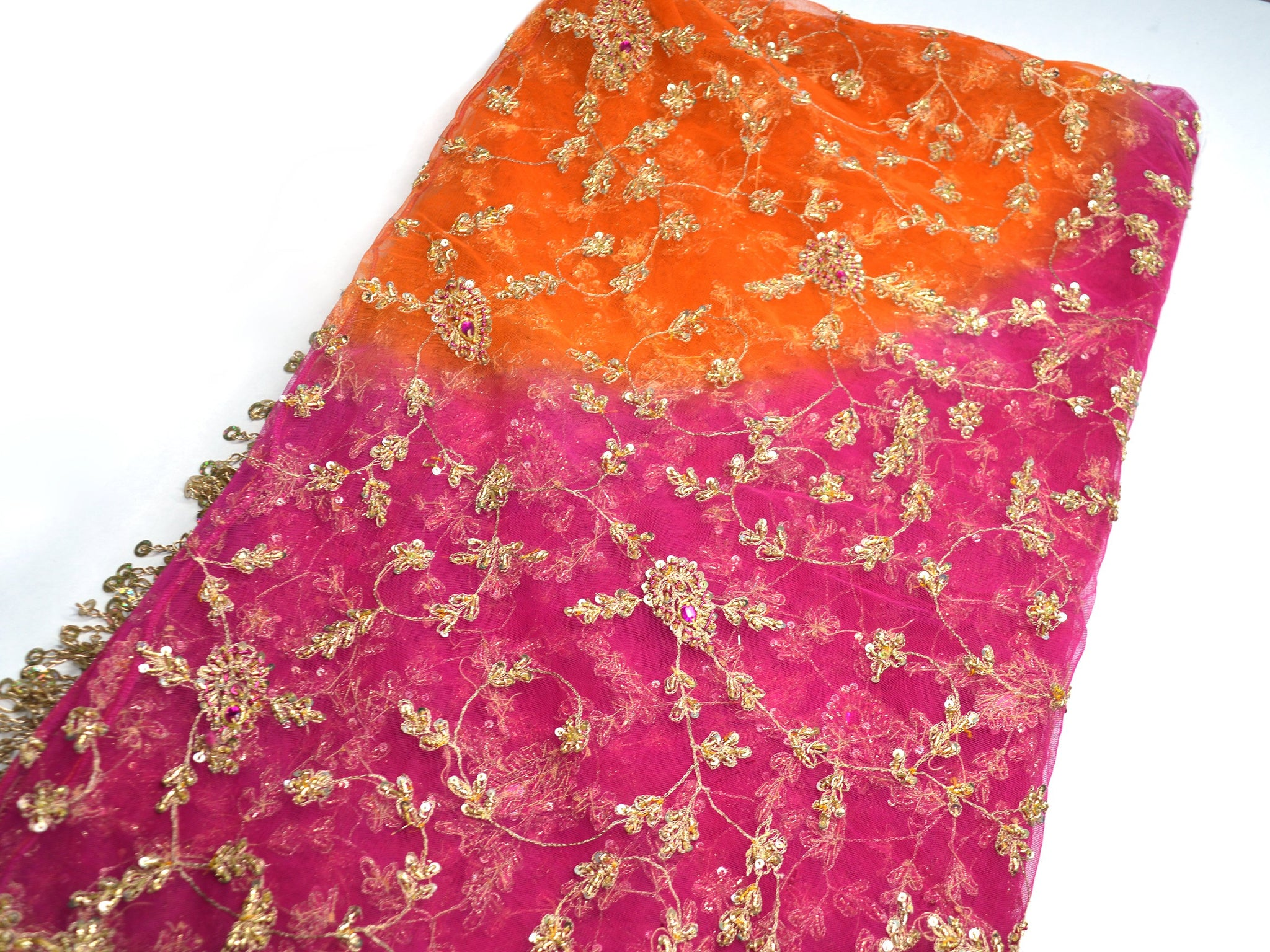 sheer orange and pink bridal shawl