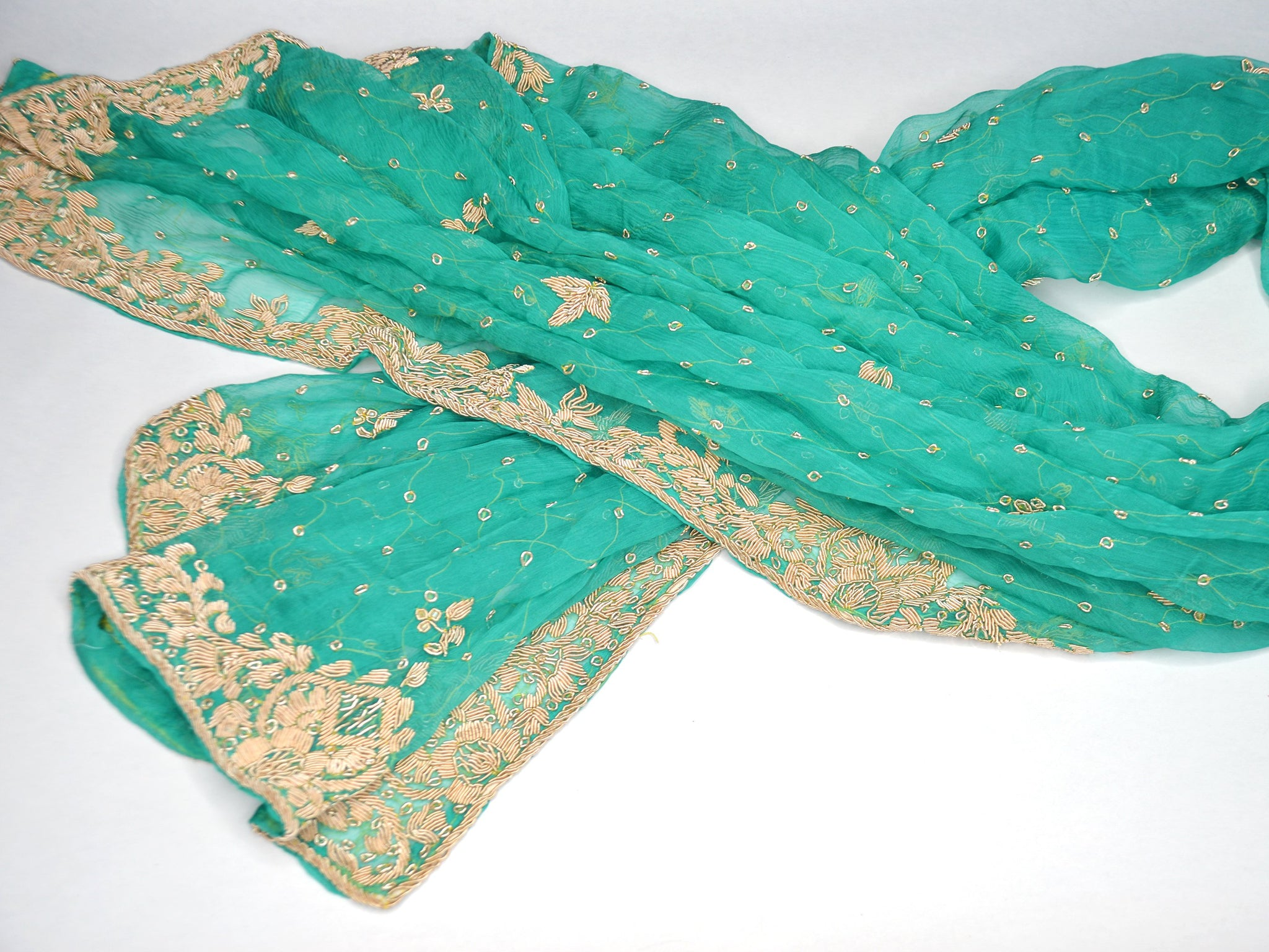 aqua green and gold sheer bridal shawl