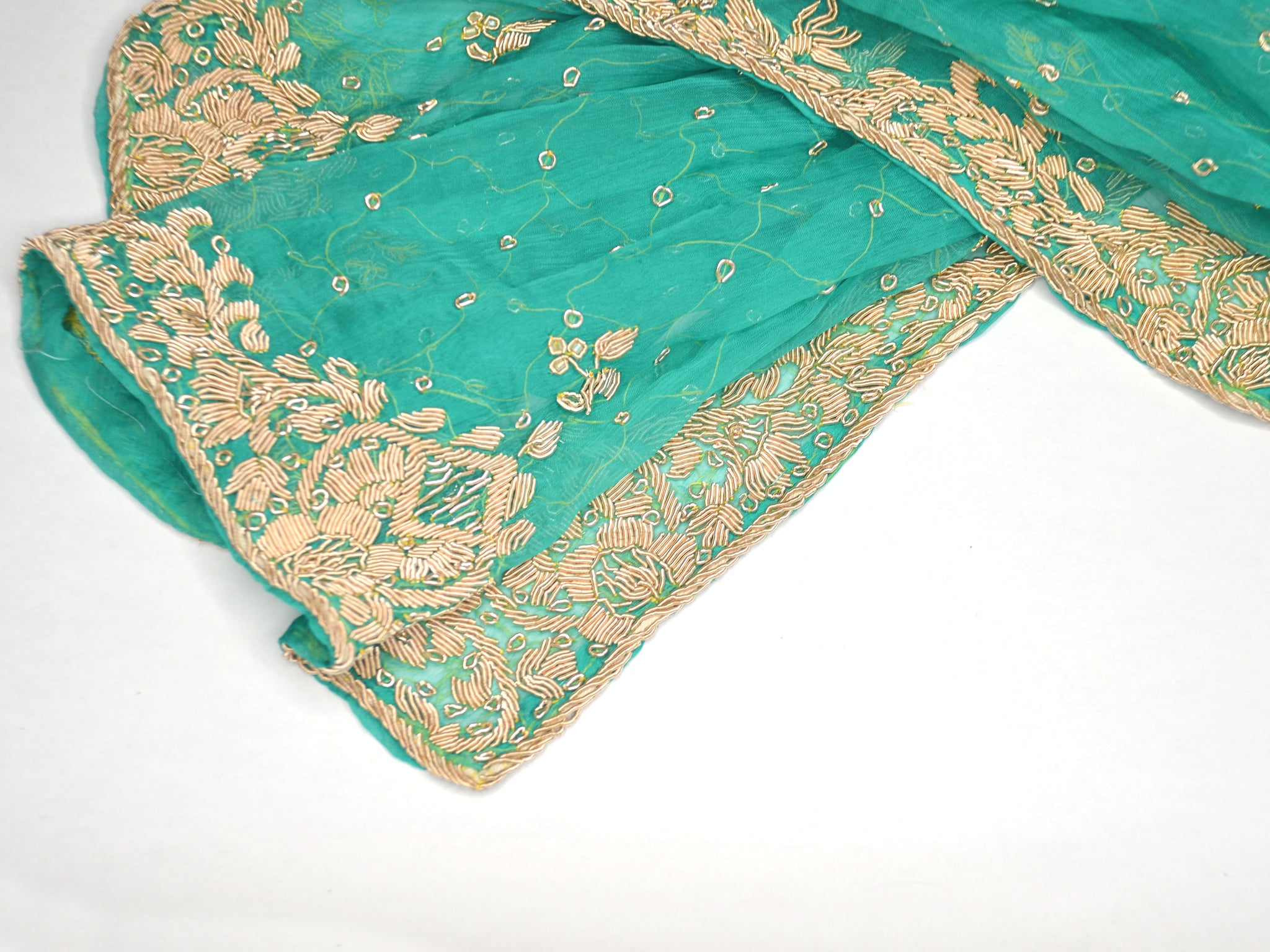 embroidered teal silk chiffon wedding shawl