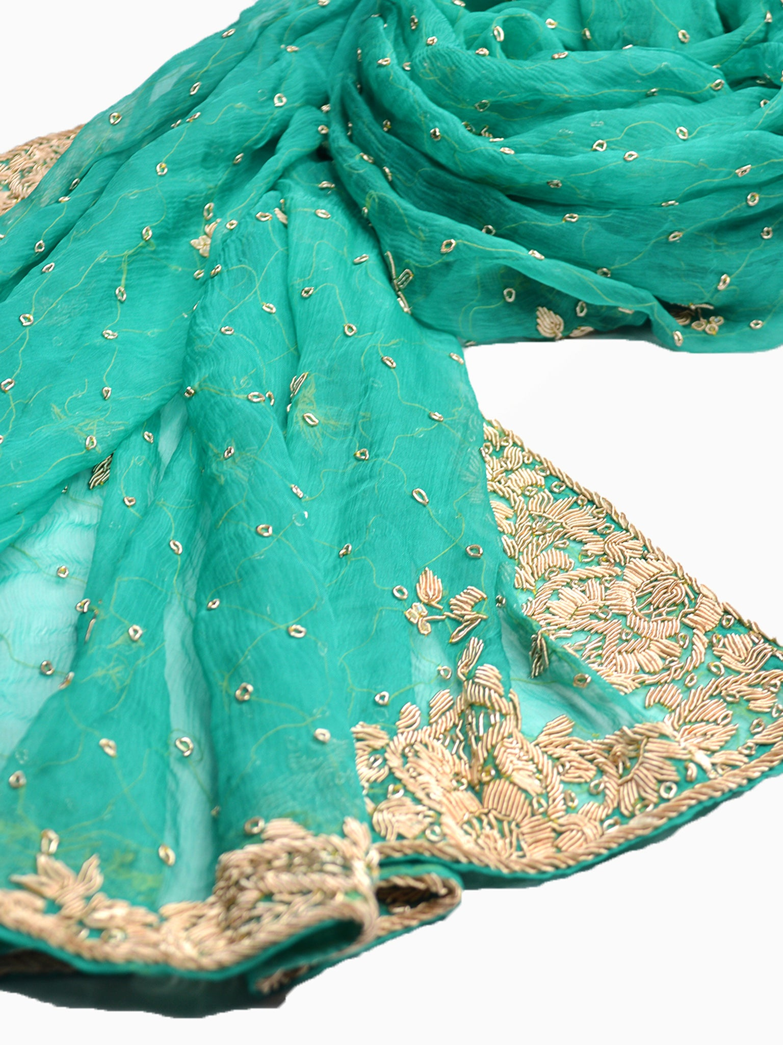 beautiful green silk bridal shawl