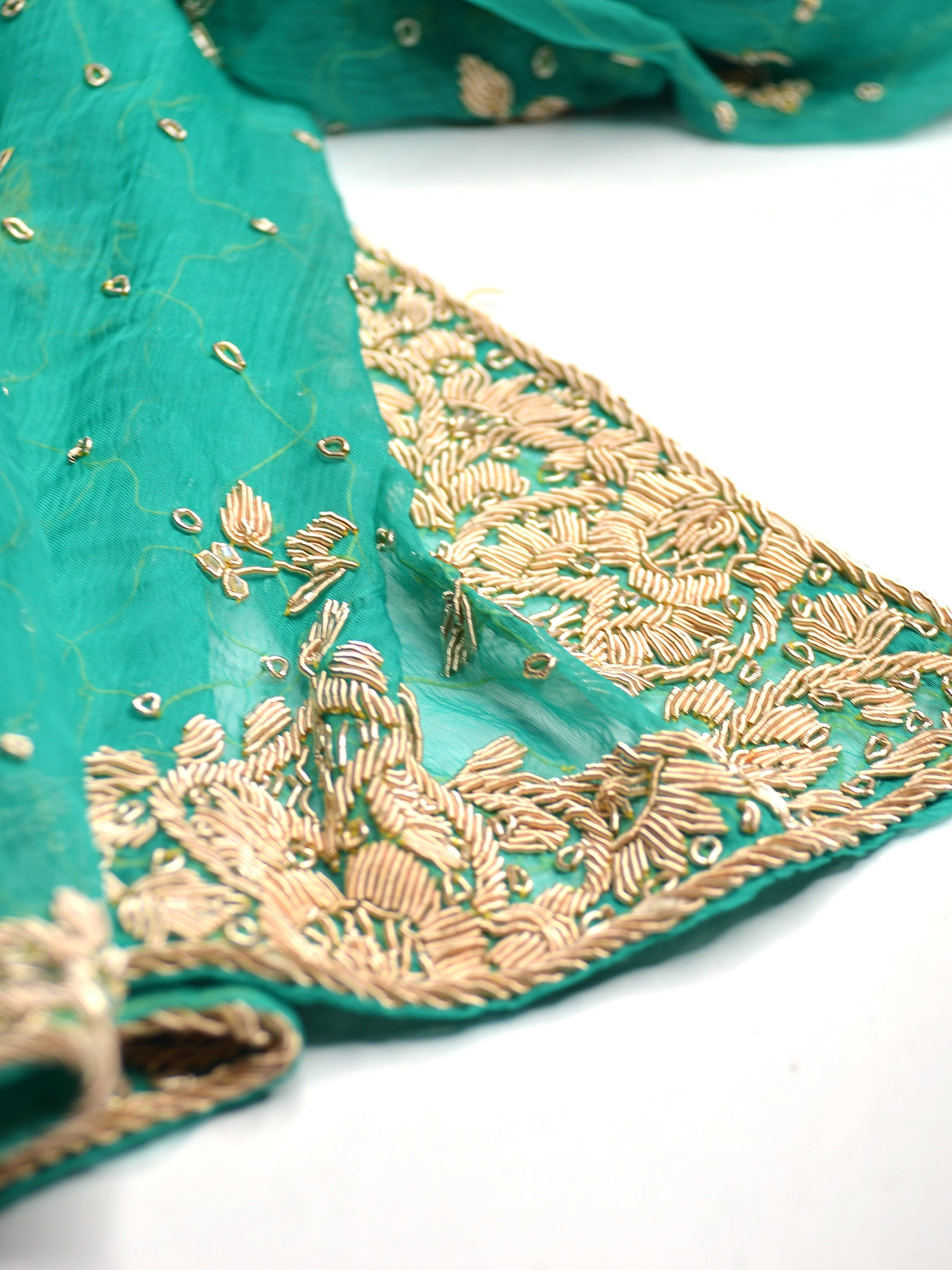 formal green silk shawl