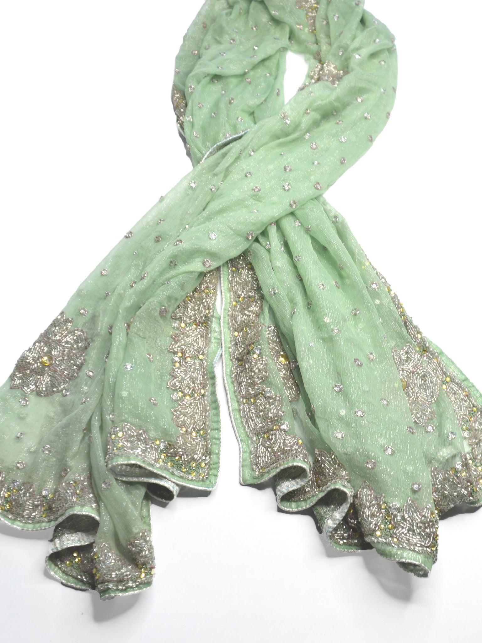luxe green wedding shawl with ornate beading and embroidery