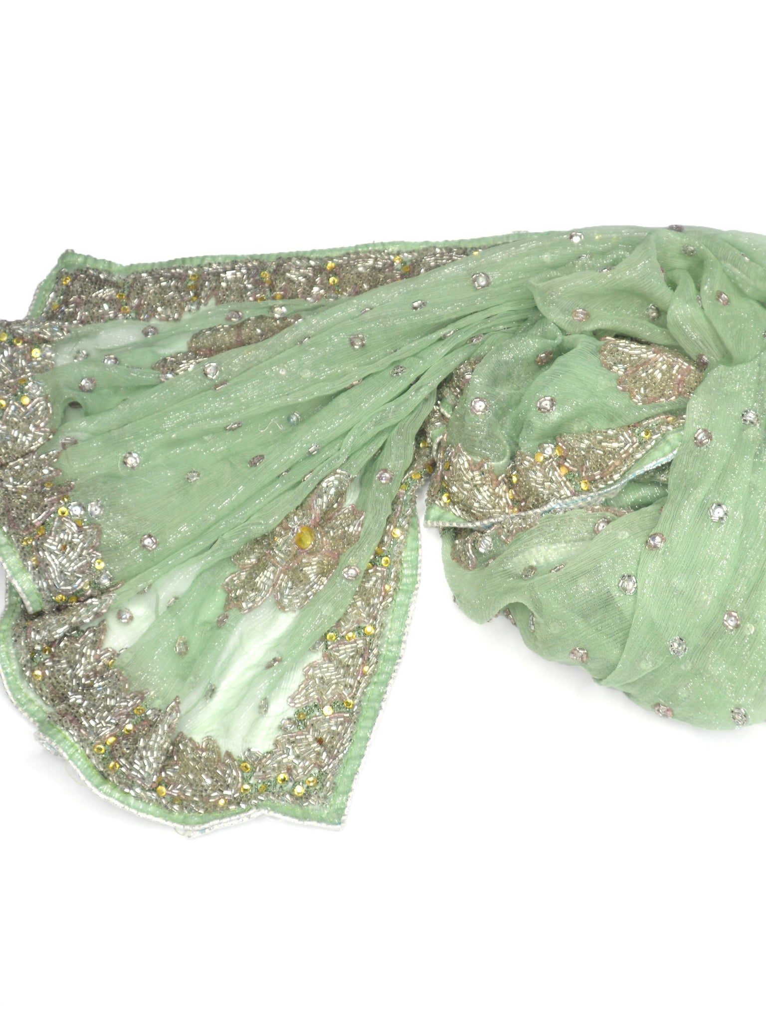sparkly light green beaded wedding shawl
