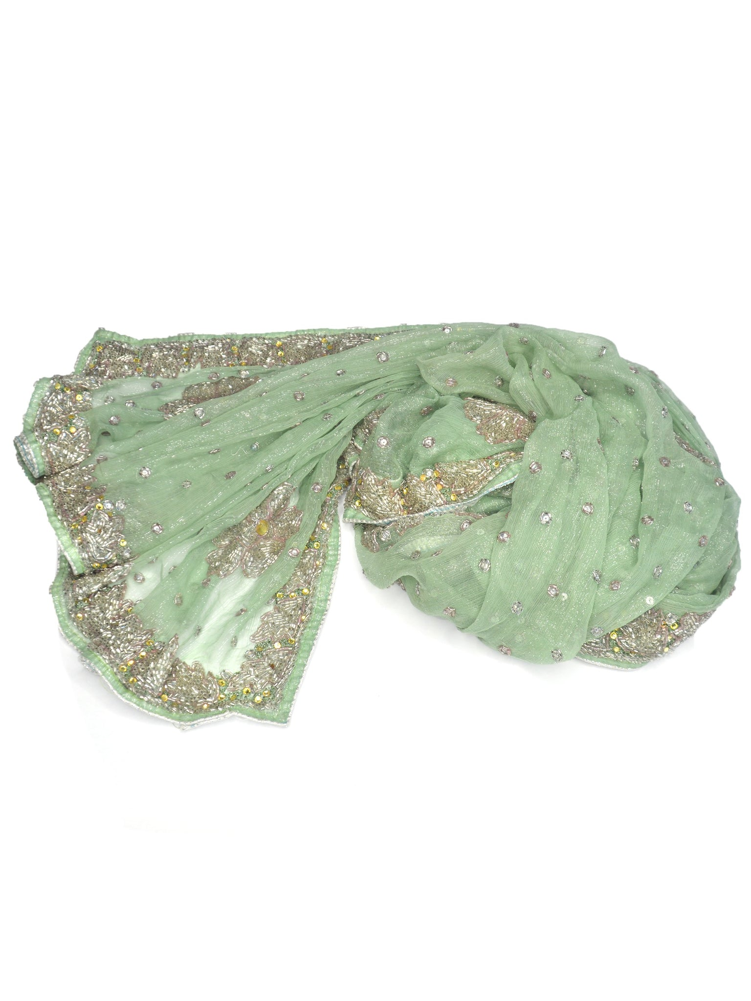 light green wedding shawl with silver embroidery
