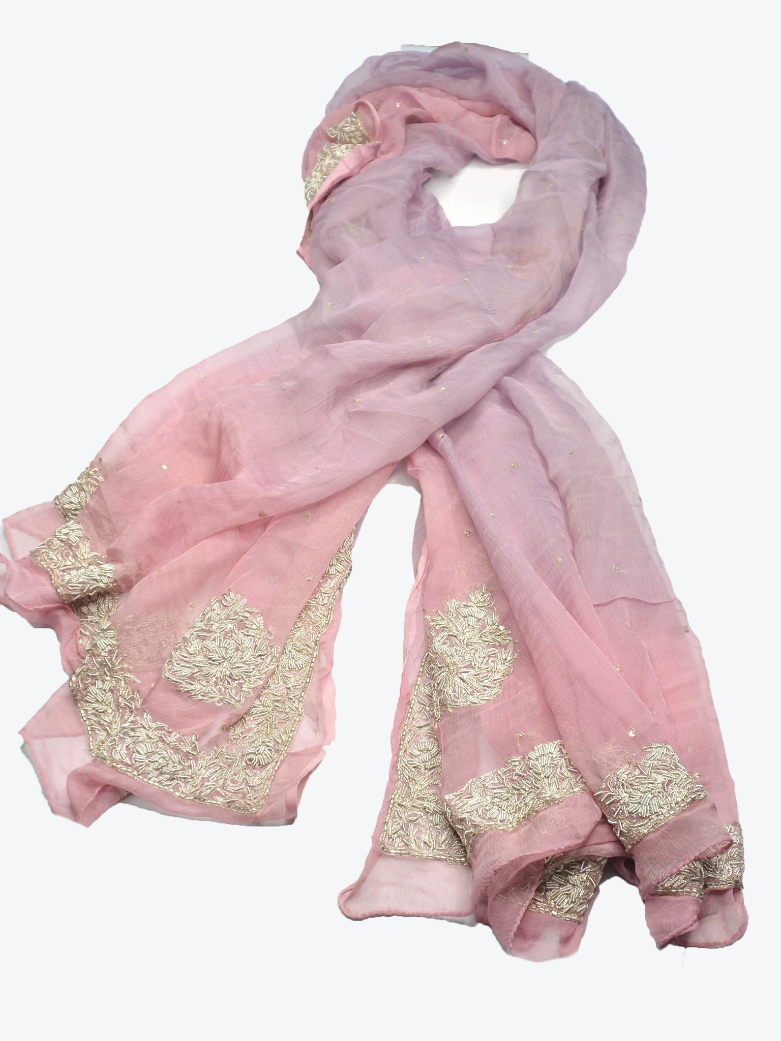 soft silk chiffon pink and purple ombre bridal shawl