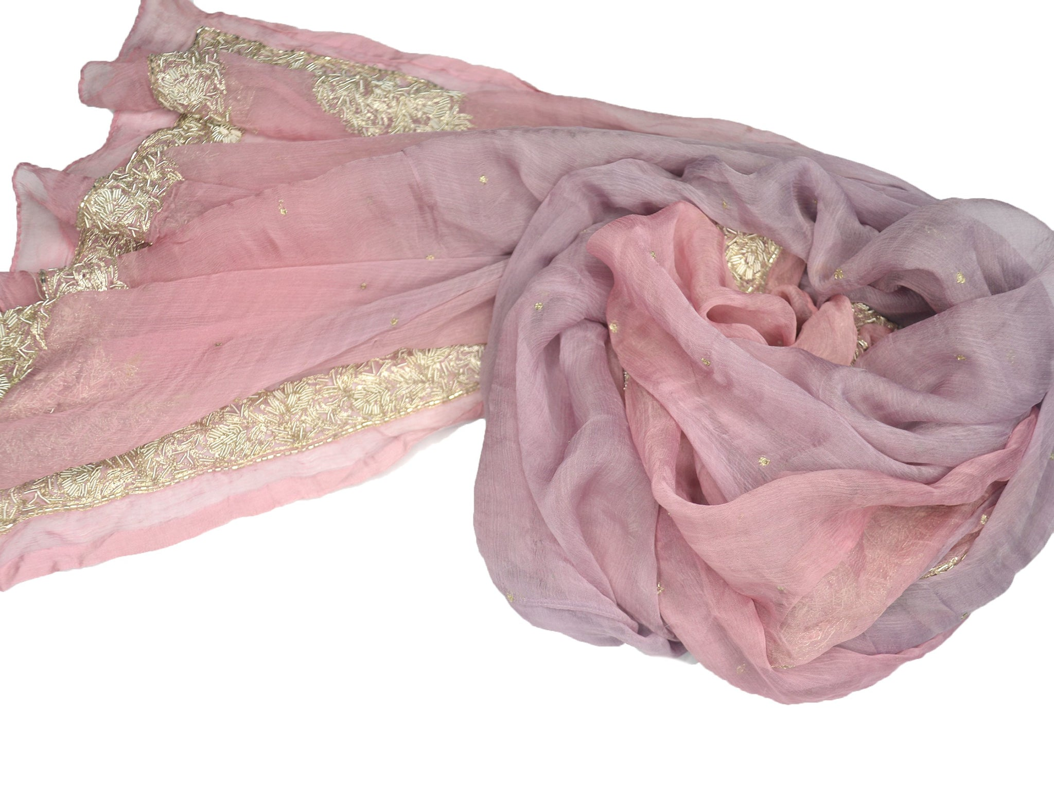 embroidered, beaded wedding shawl soft ballet pink and purple ombre