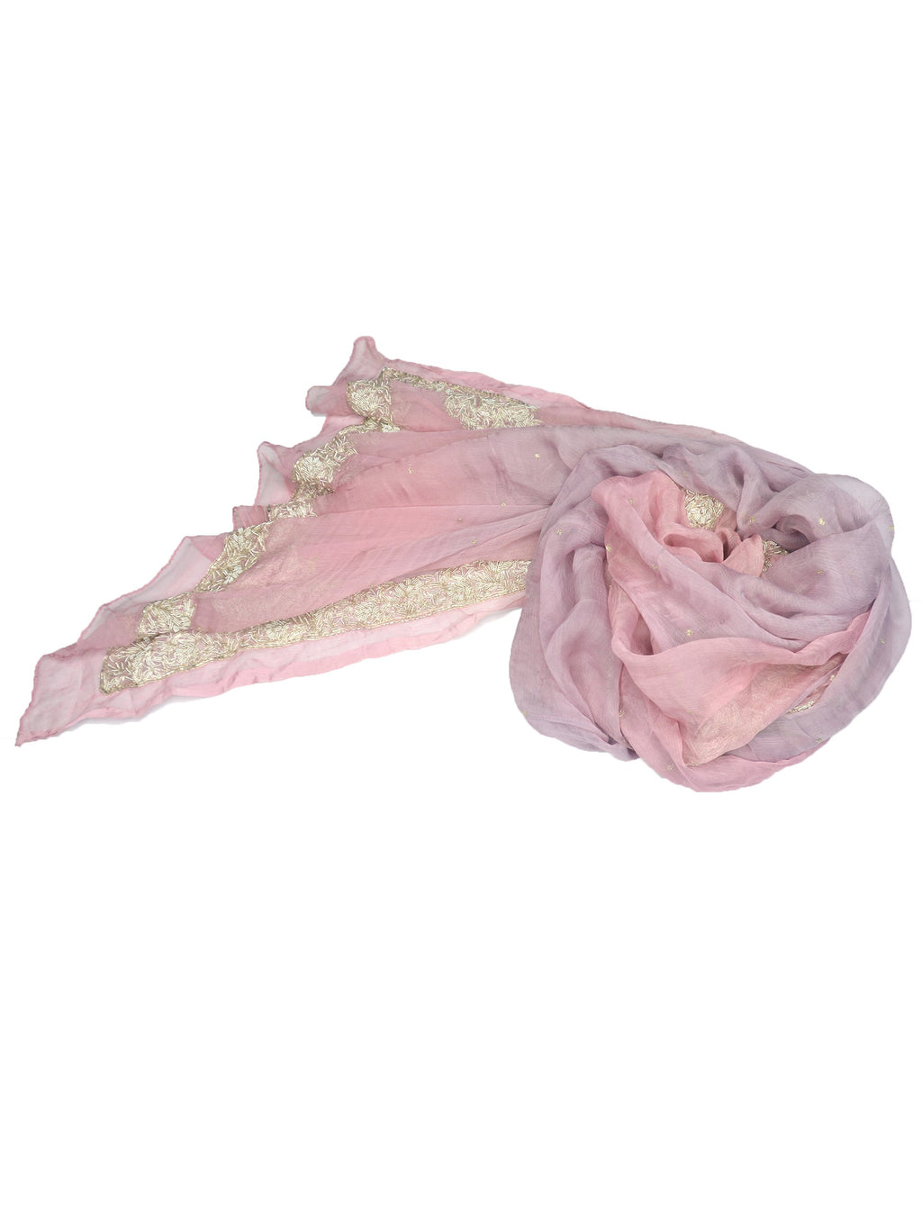 luxurious silk chiffon pink and purple shawl with embroidery and beading