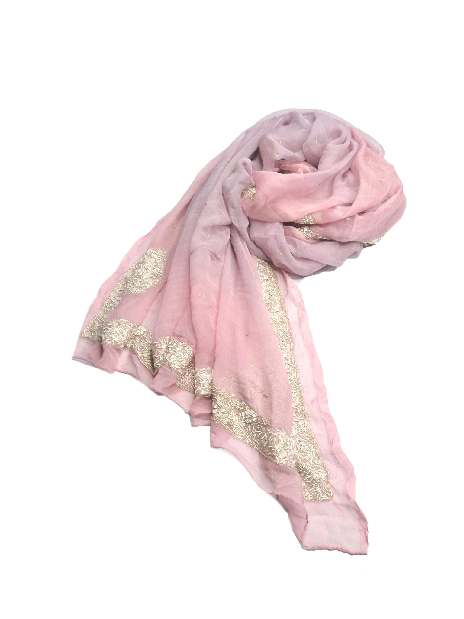 beautiful, soft pure silk chiffon wedding wrap in pink and light purple