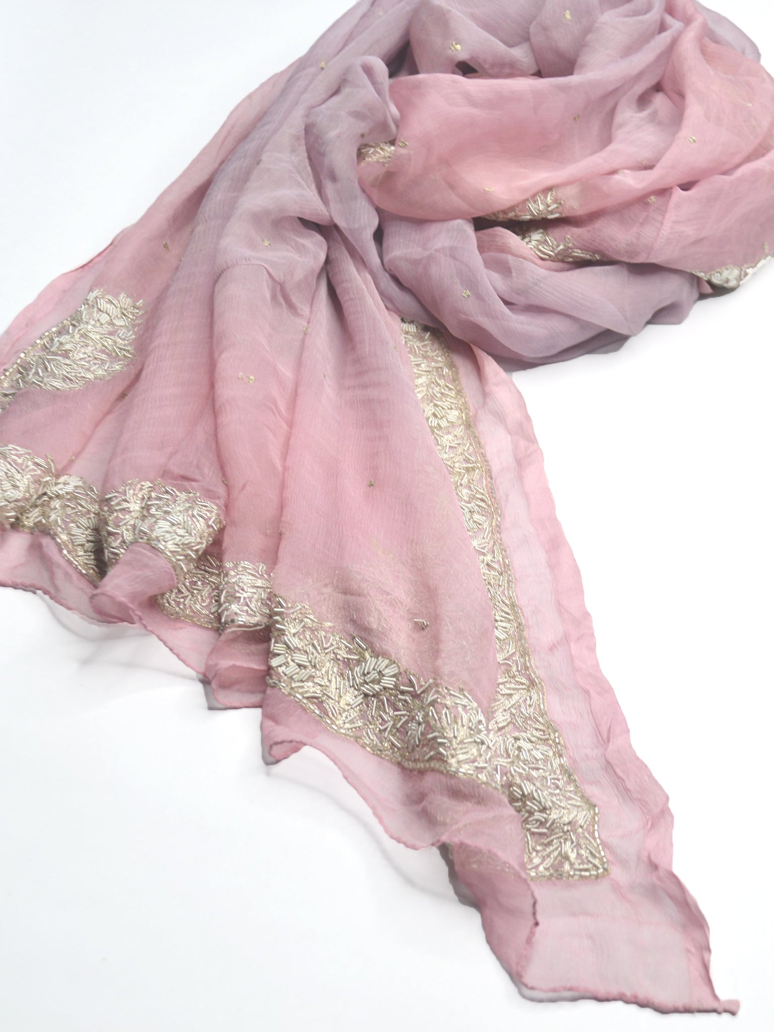 soft, light silk shawl in light pink and purple, with gold embroidery and beading