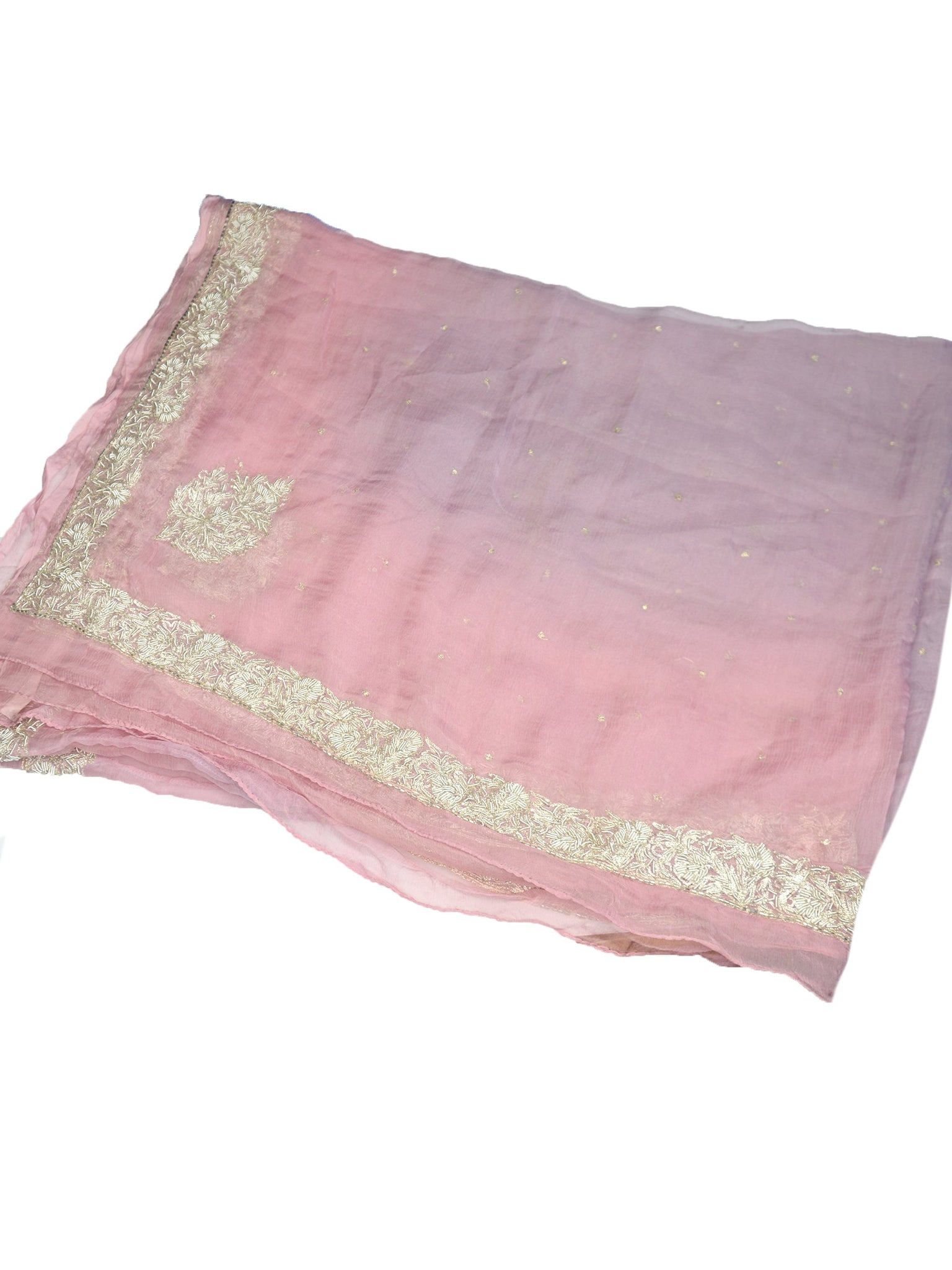 indian silk chiffon wedding shawl in pink and purple with gold embroidery