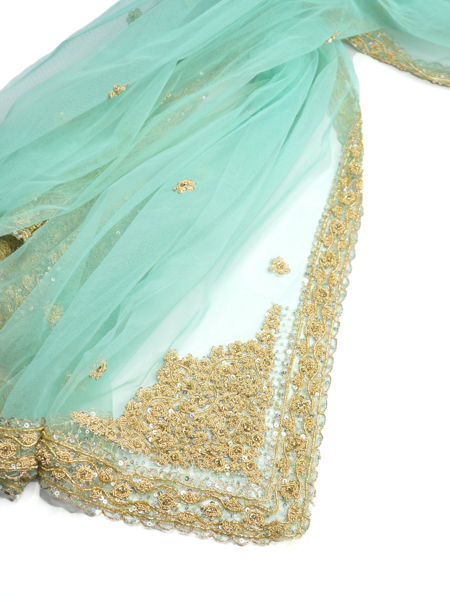 sheer net beaded green shawl