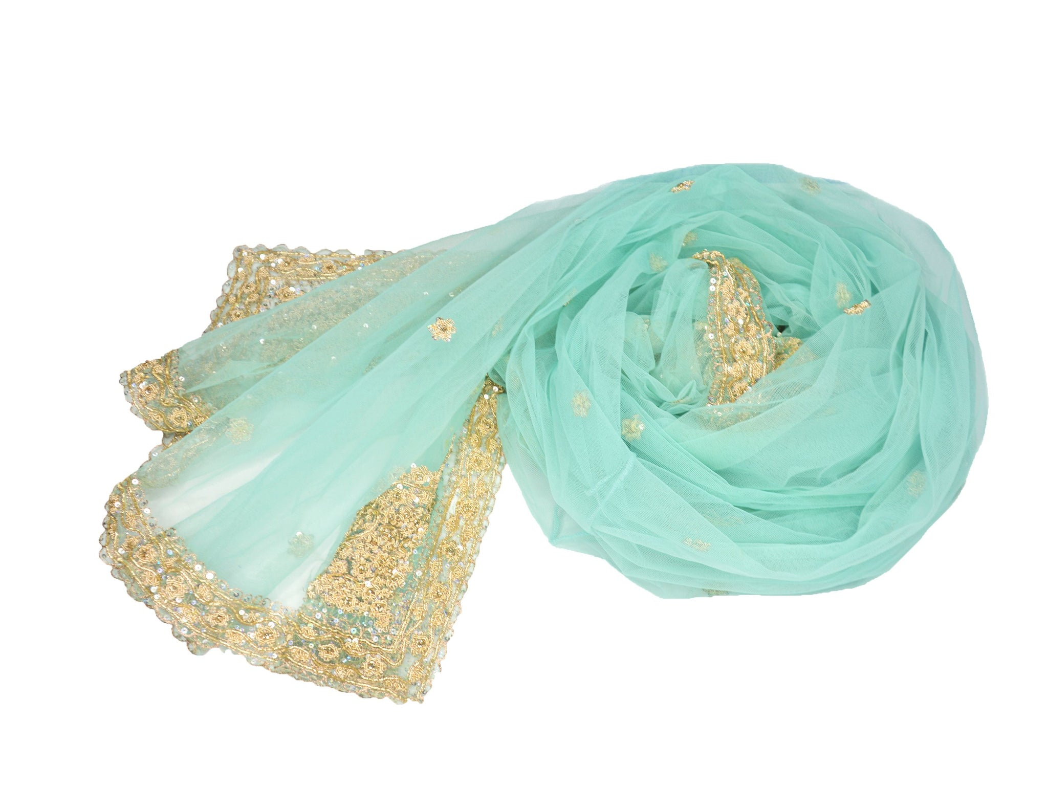 beaded aqua green wedding shawl
