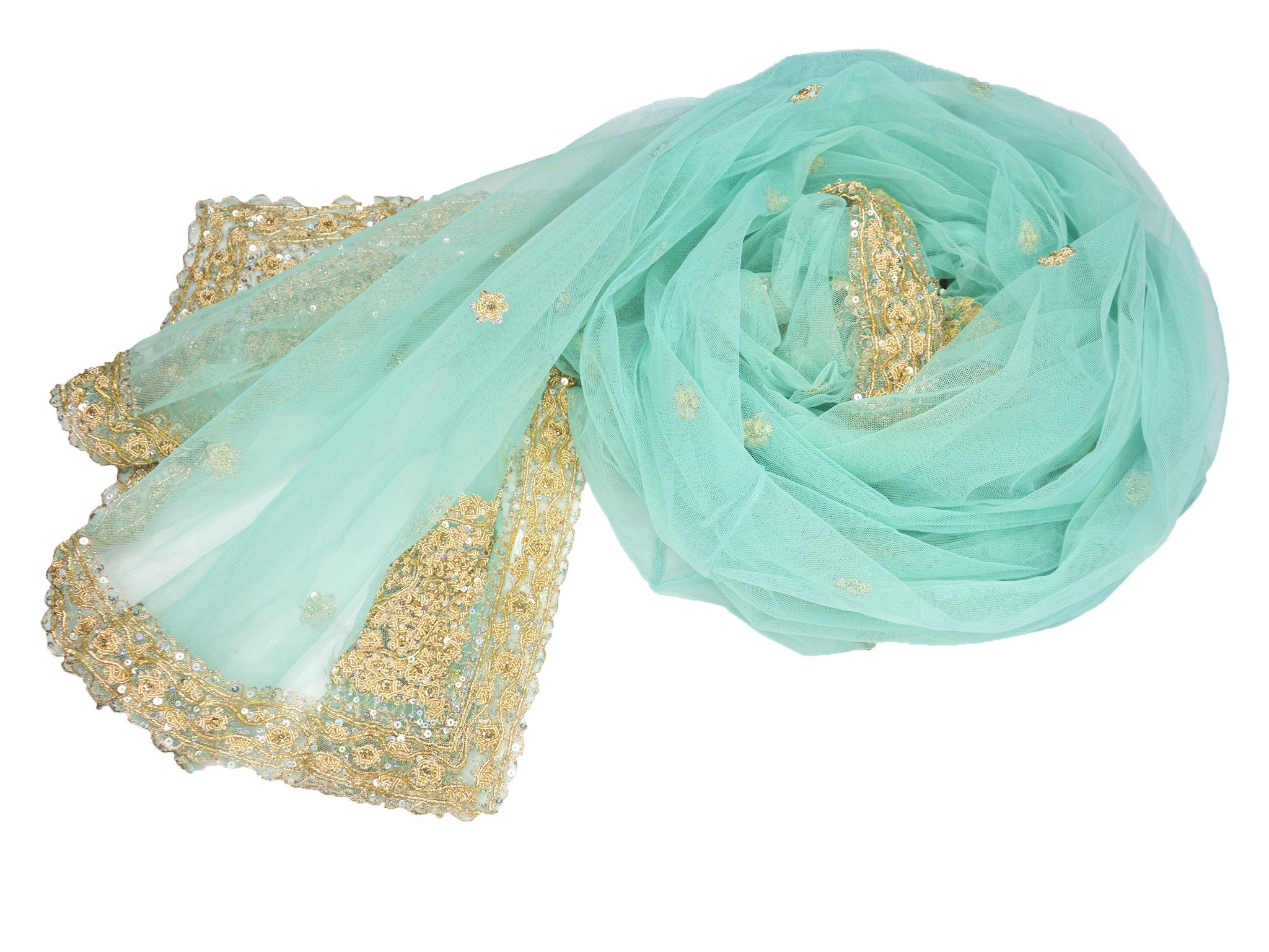 light green embroidered and beaded bridal shawl