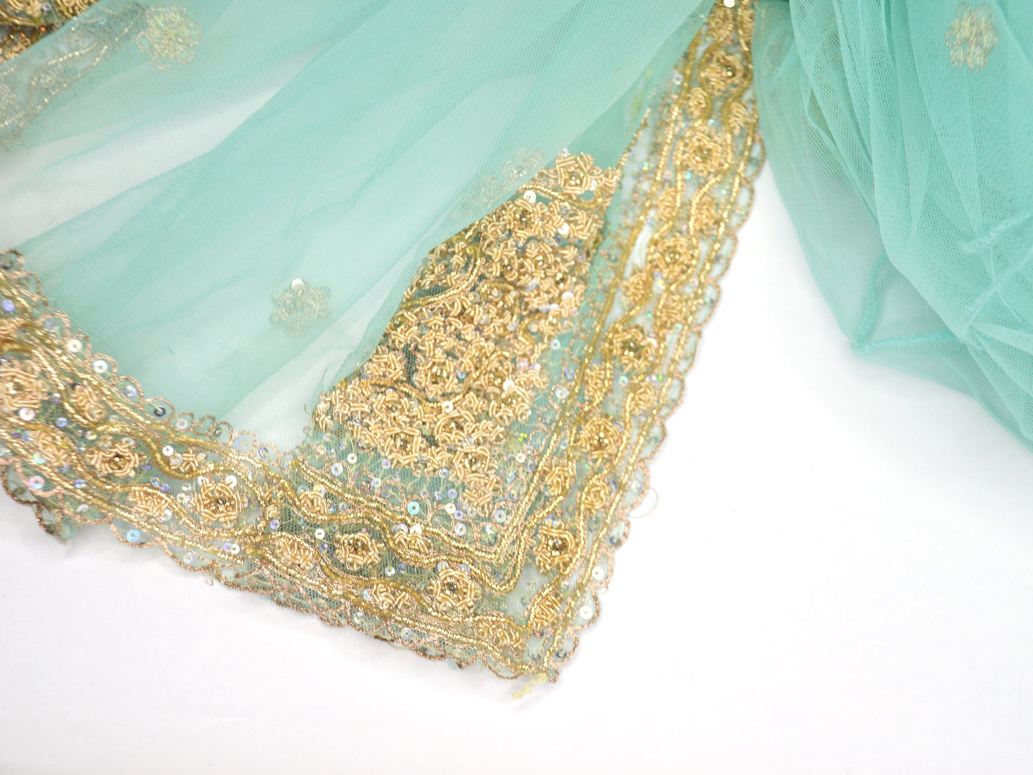 beaded green bridal shawl
