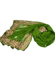 green silk shawl with gold beading