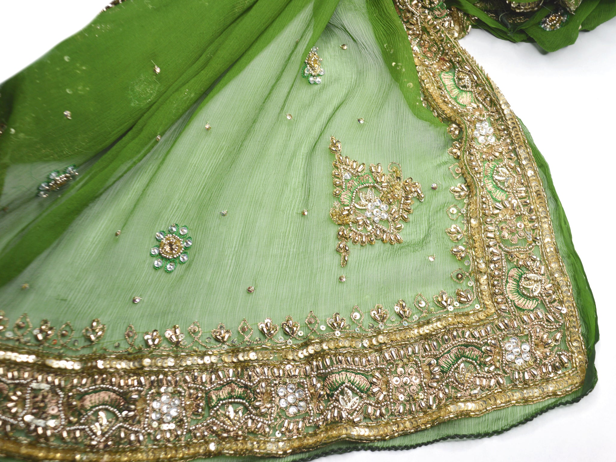 indian wedding shawl fern green and gold
