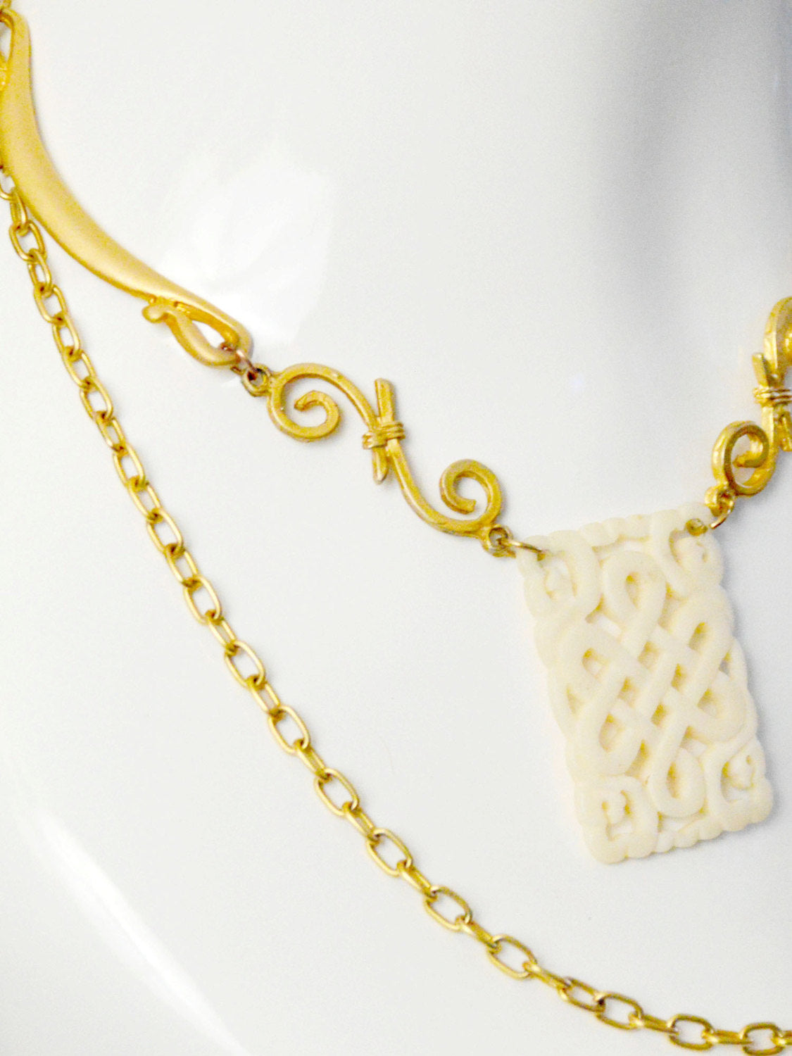 carved bone and gold scroll chain wedding jewelry