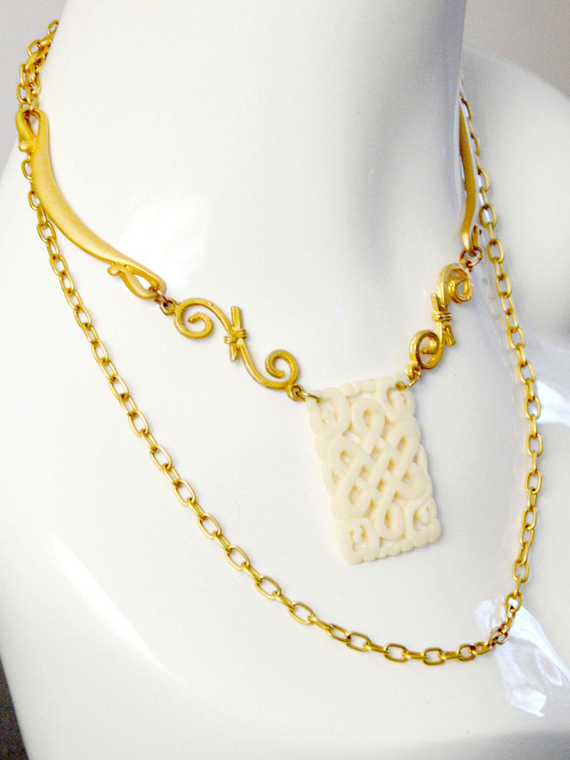 gold and ivory long wrap necklace for brides