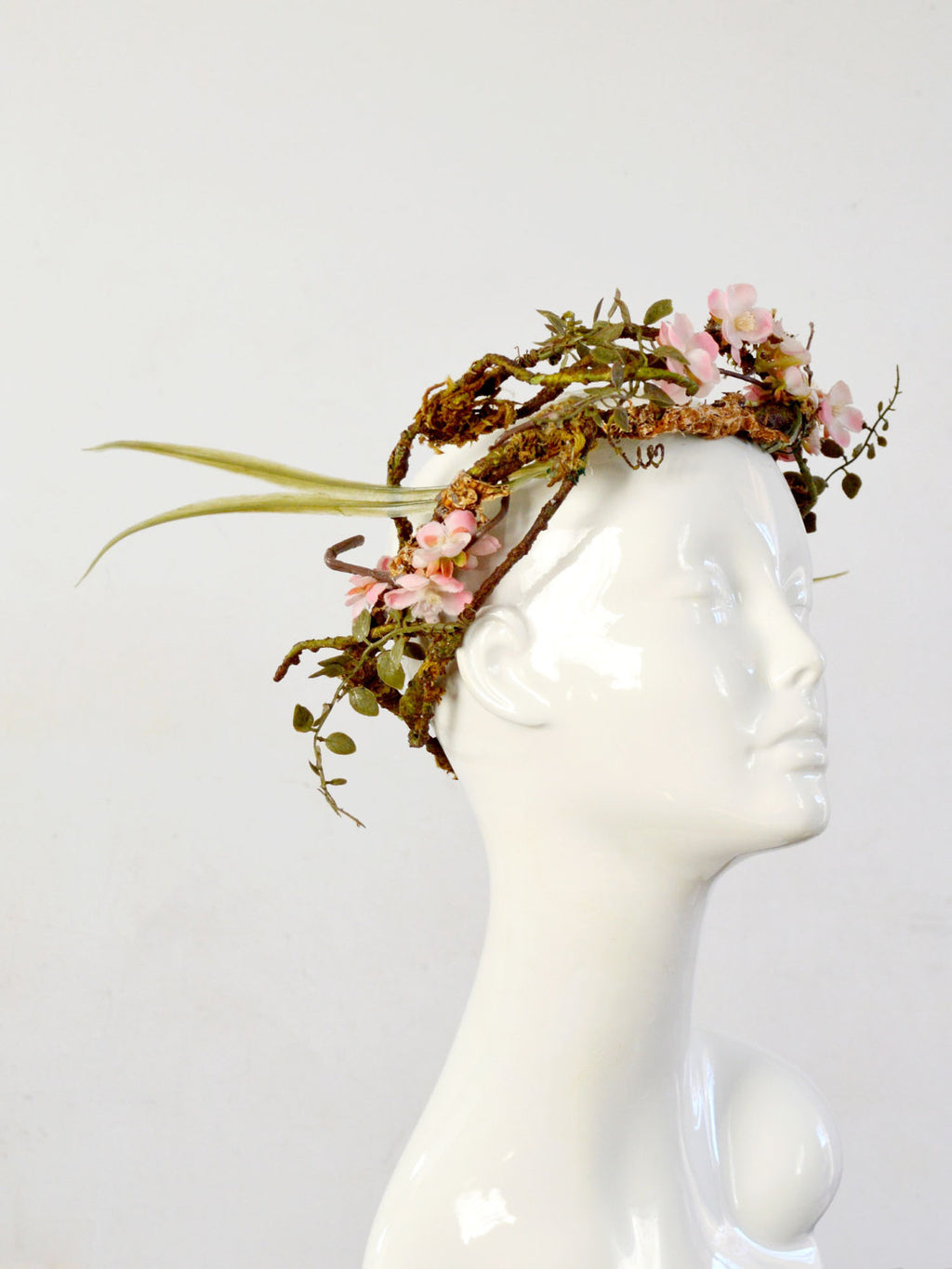 cherry blossom flower crown in pink, green, and brown