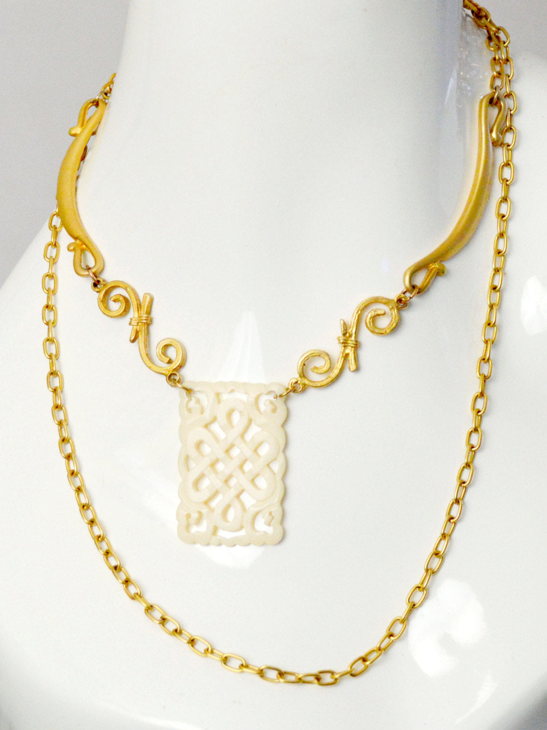 simple gold chain and spirals with bone charm wedding necklace