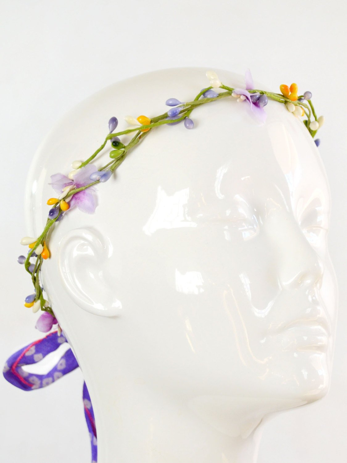 purple, green, and yellow bridal flower crown