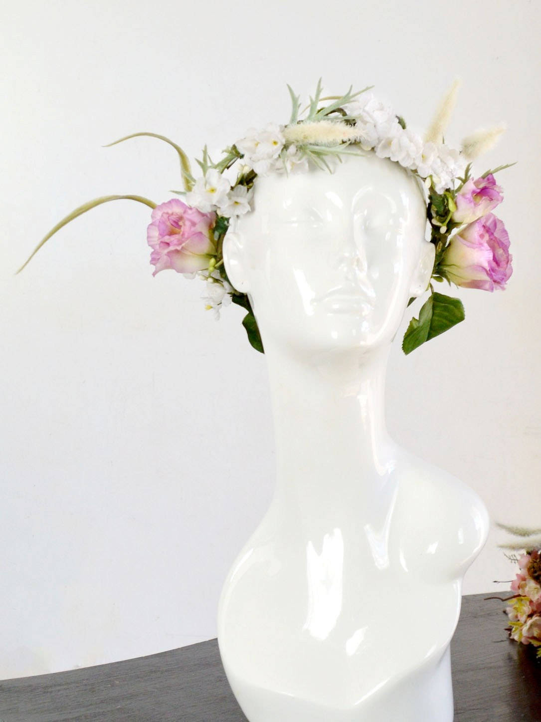 pink and green floral wedding crown