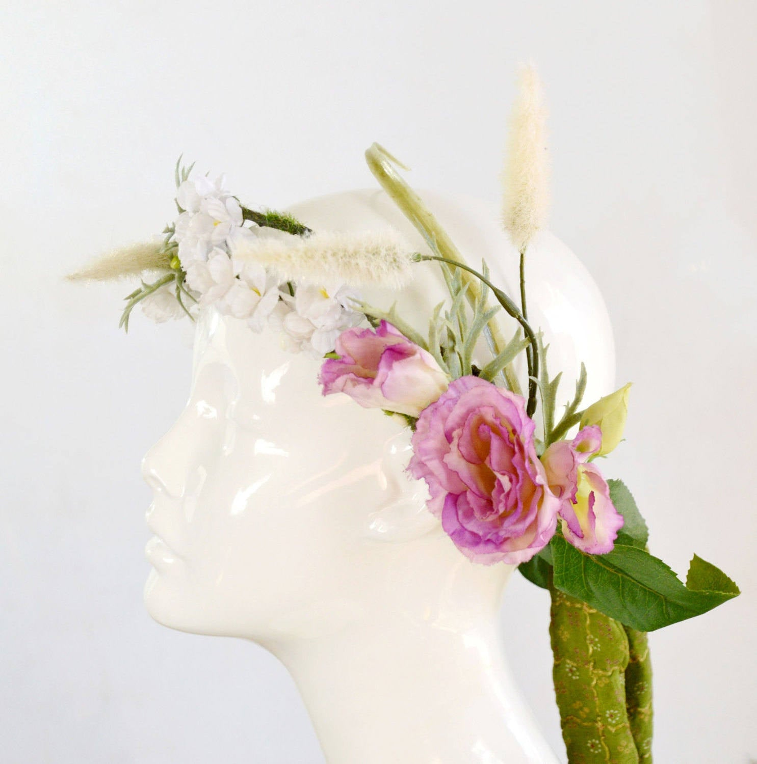 outdoor bohemian wedding head piece in pink, green, and ivory