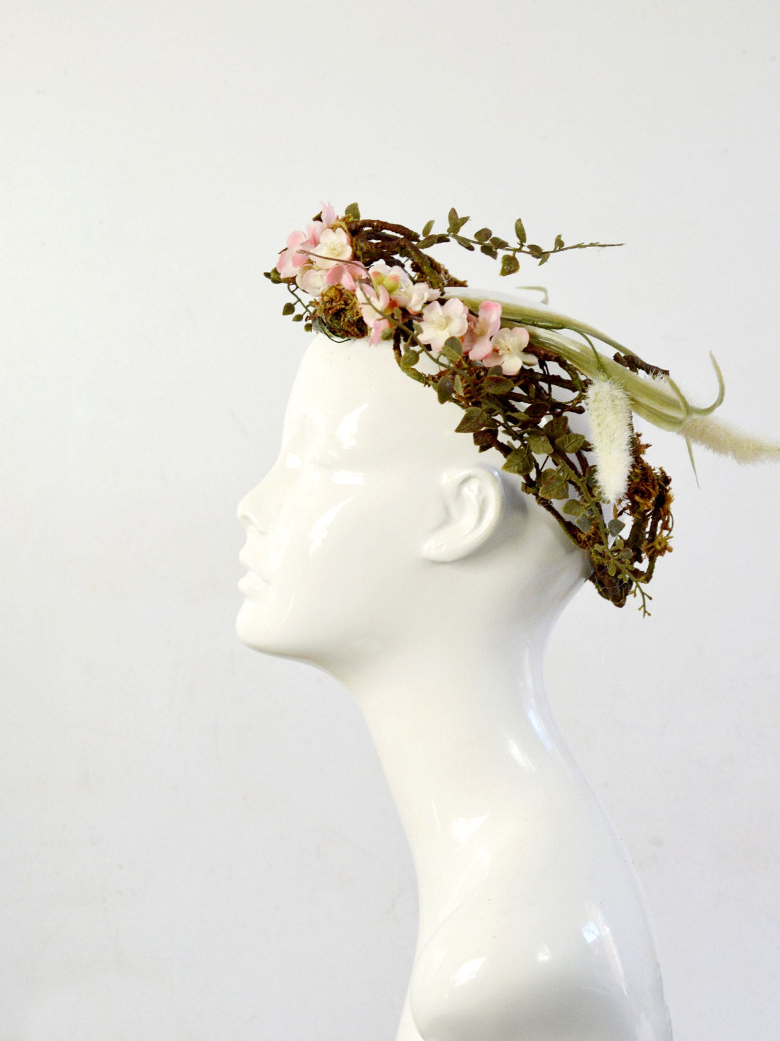brown, green, and pink bohemian bridal crown
