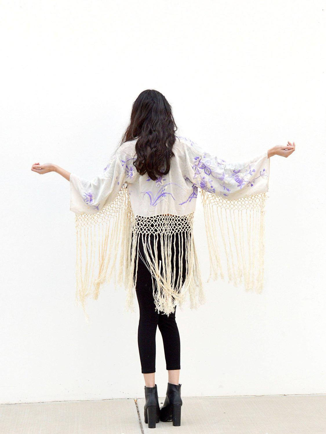 white and purple cropped boho kimono jacket