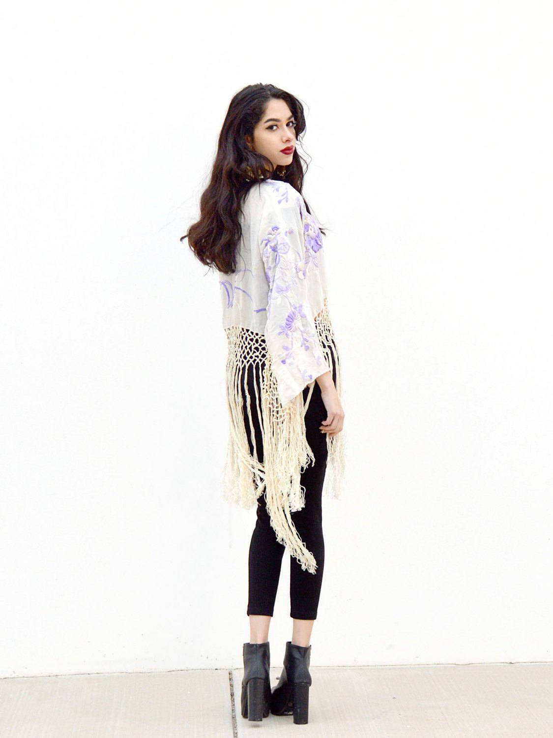 long sleeve waist length open jacket with long fringe