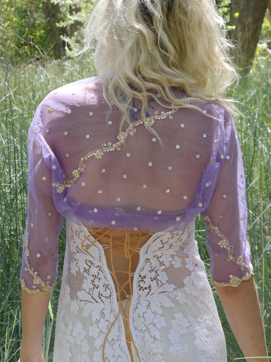 purple weddings bridal coverup shrug