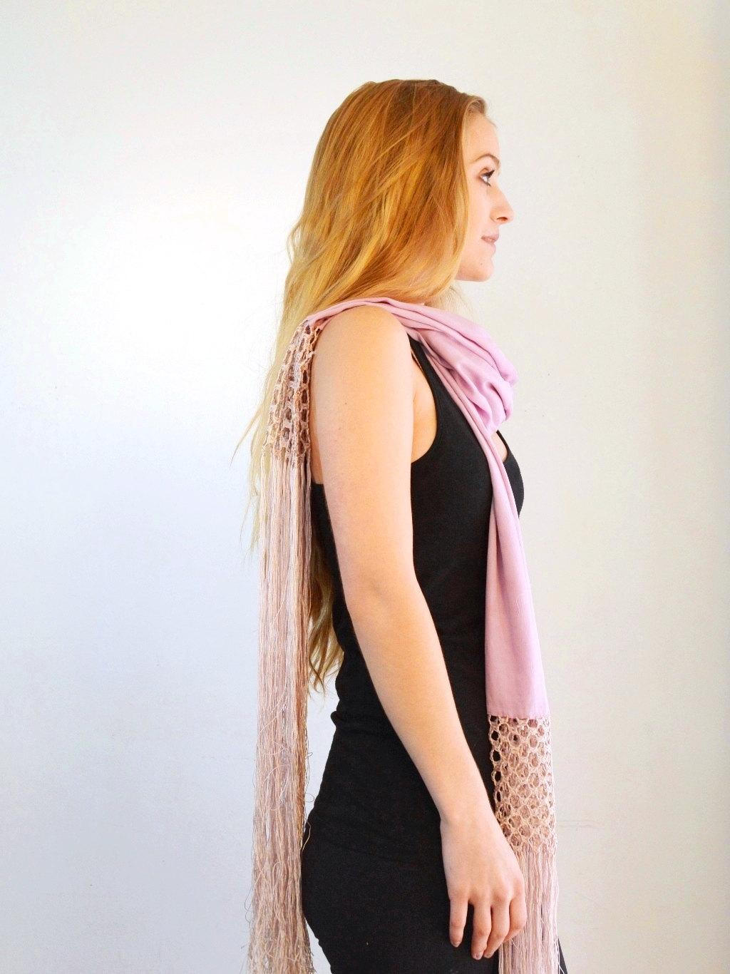 pink purple silk fringe wedding scarf