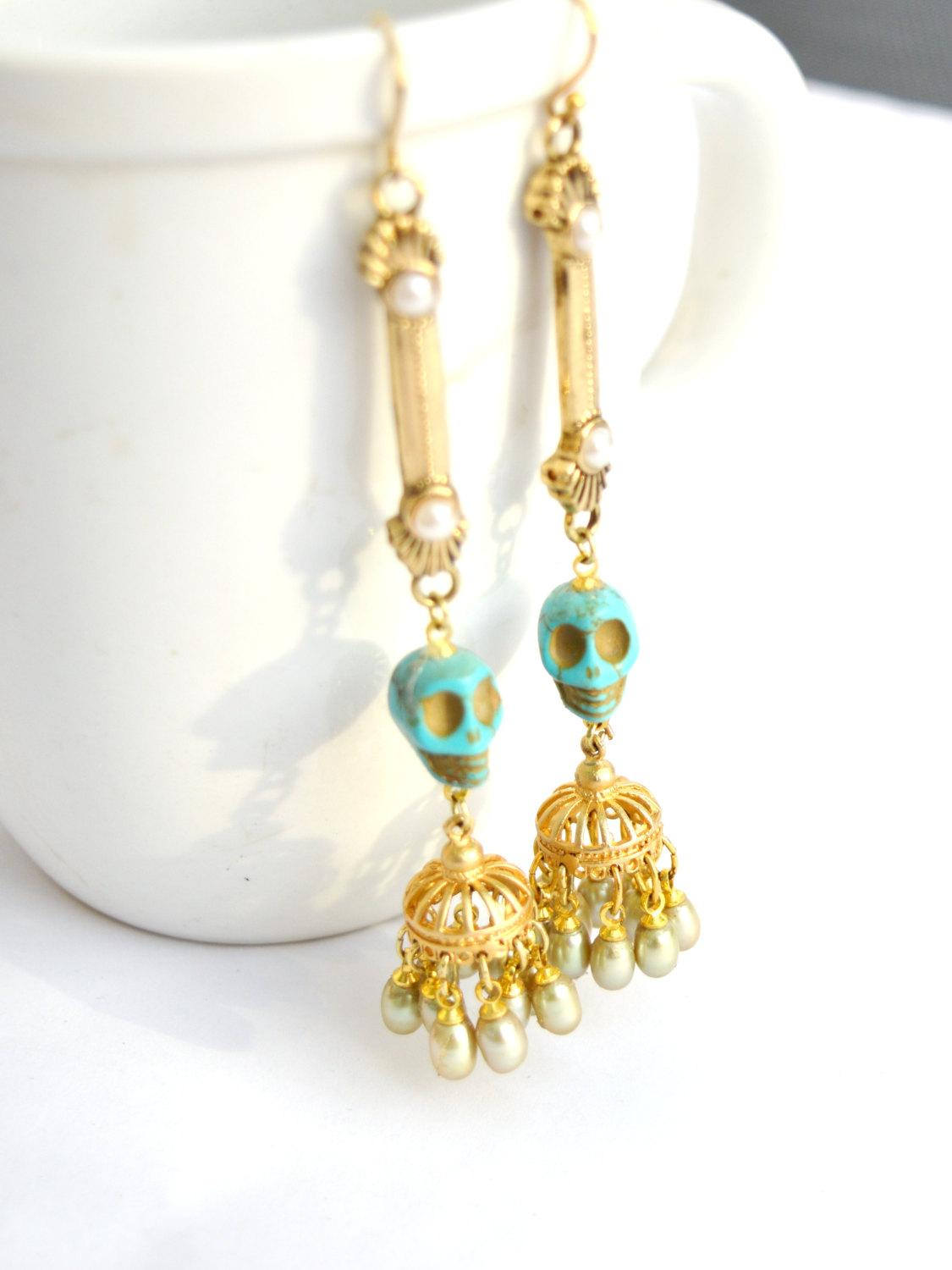 long gold pearl skull rock and roll bridal earrings