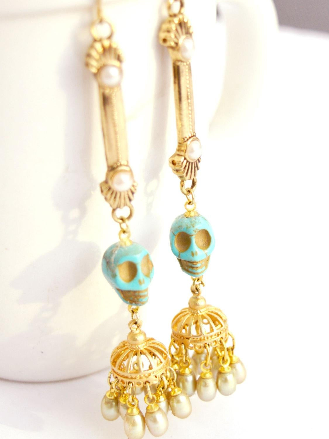 rocker bride gold earrings with turquoise skulls and freshwater pearls