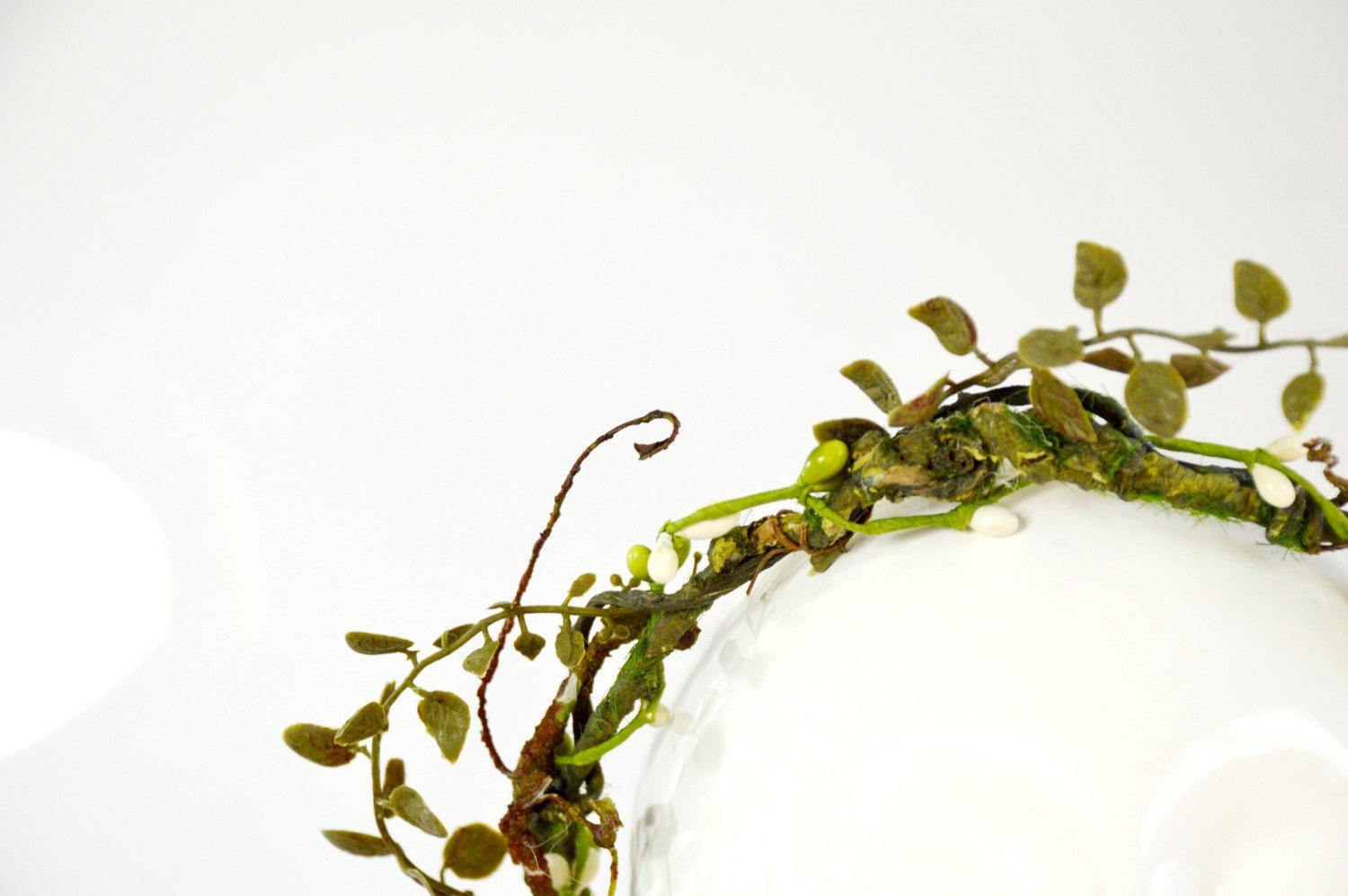 leaves and branches bridal flower crown