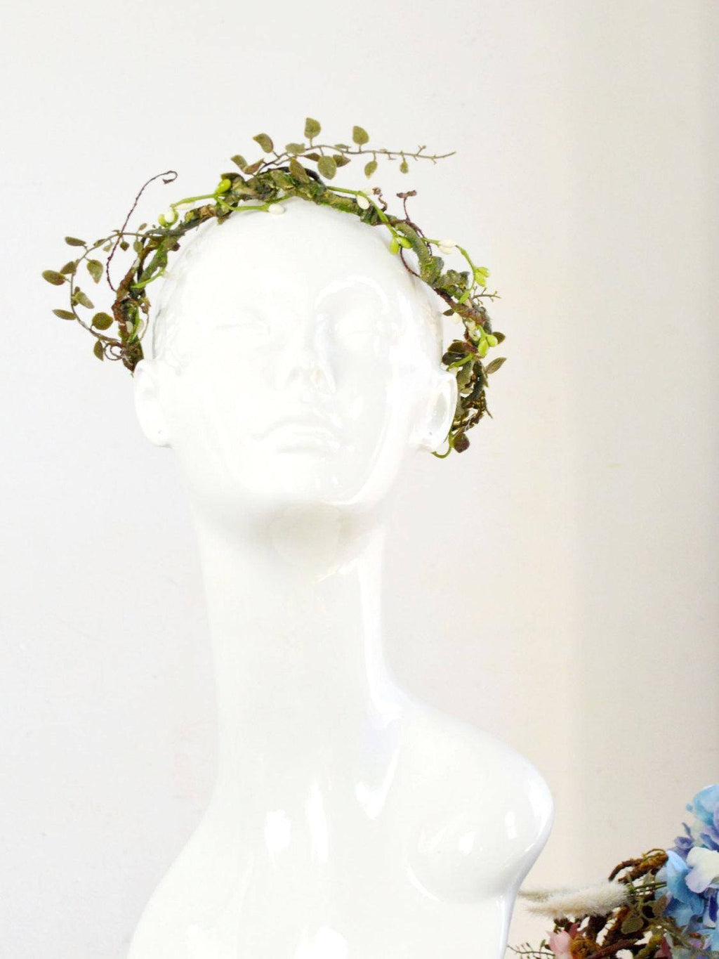green vines and leaves wedding flower crown