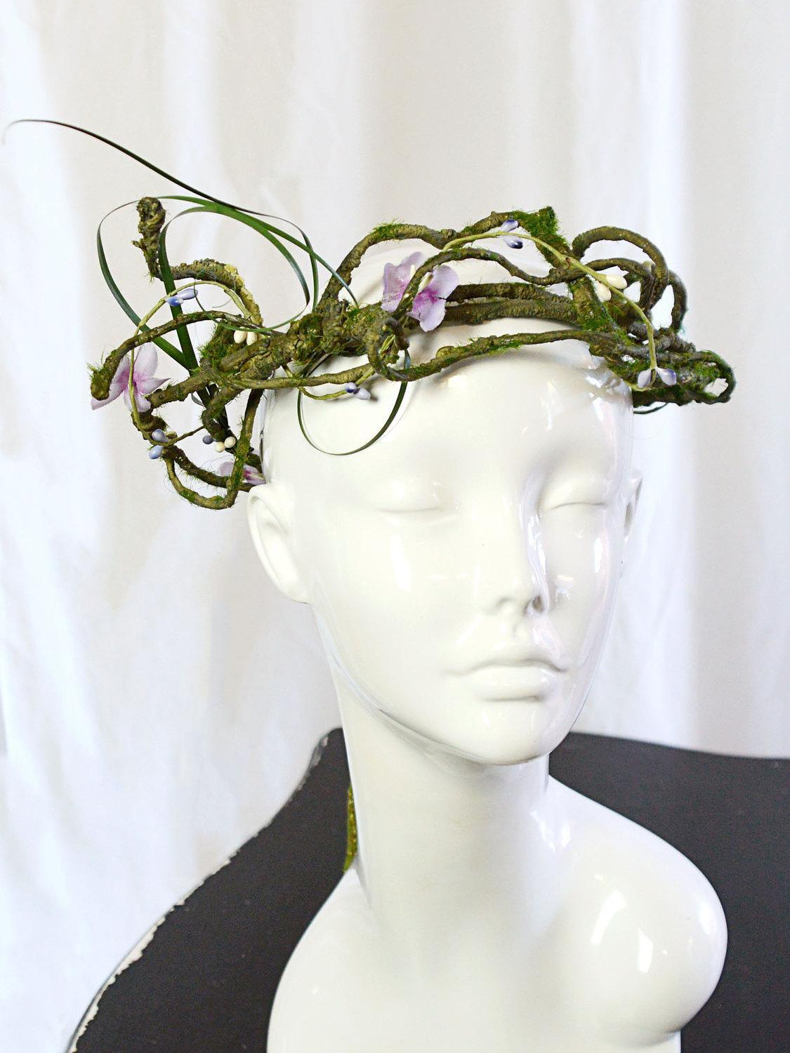 green and purple floral crown