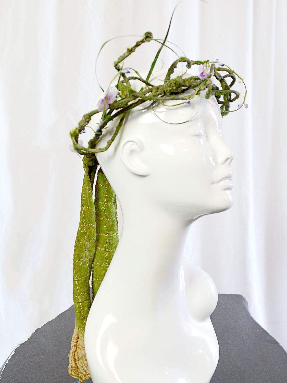 green and purple floral wedding tiara