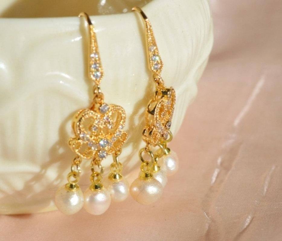gold wedding earrings with pearls