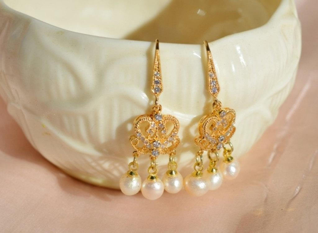 gold and ivory pearl wedding earrings