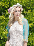 sheer beaded turquoise and gold bridal shrug