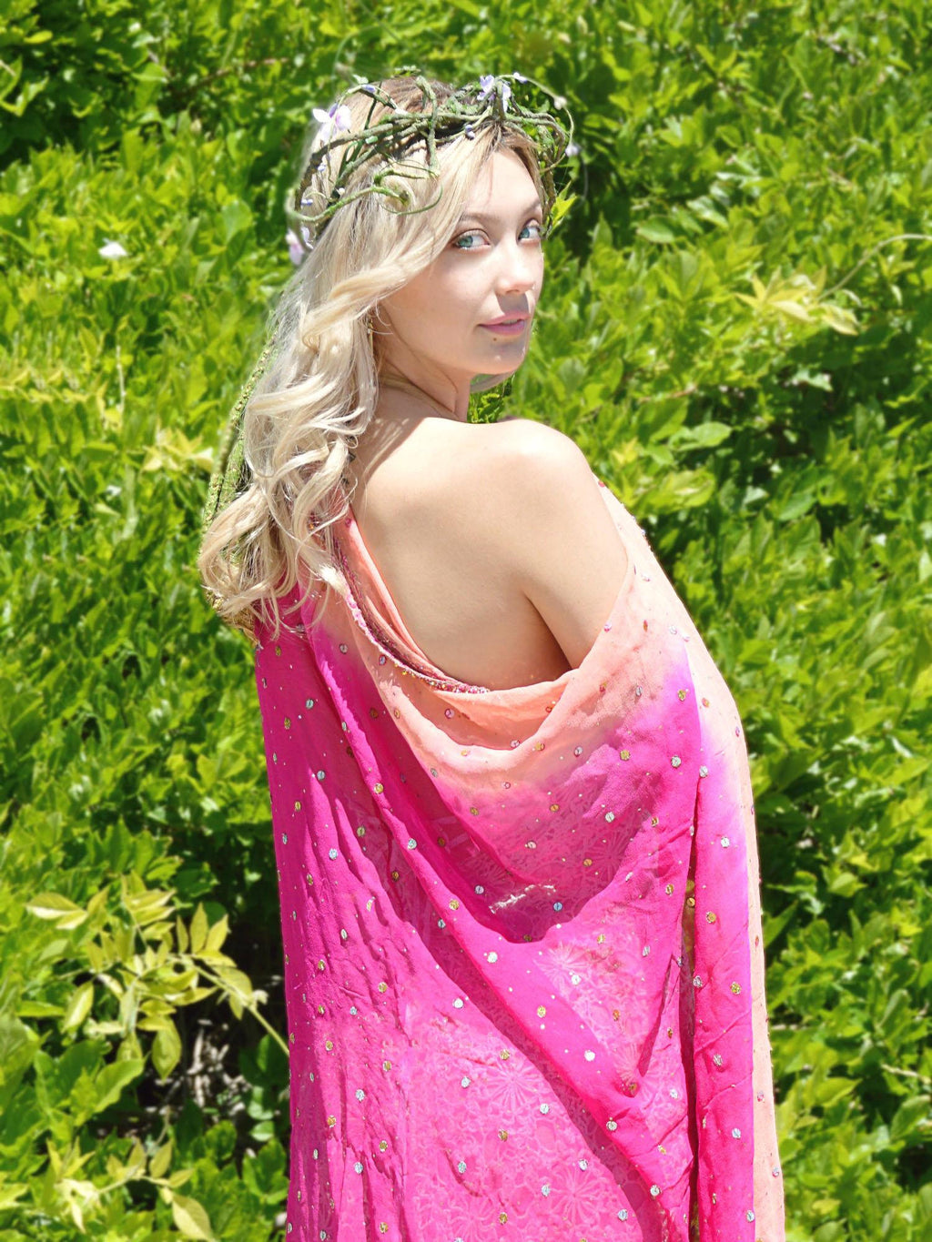 pink and peach beaded wedding shawl