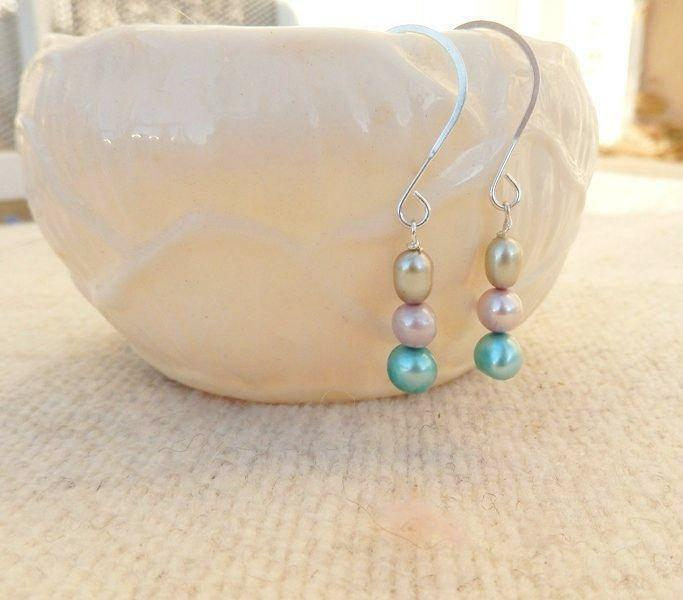 blue, green, and pink silver freshwater pearl drop bridal earrings