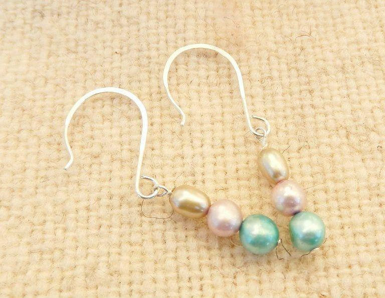 silver drop earrings with colorful freshwater pearls for wedding