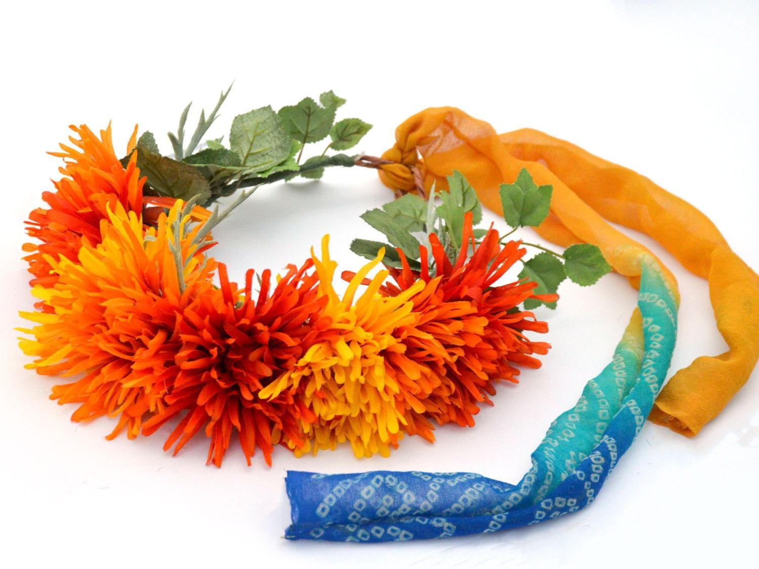 wedding flower crown in orange and yellow