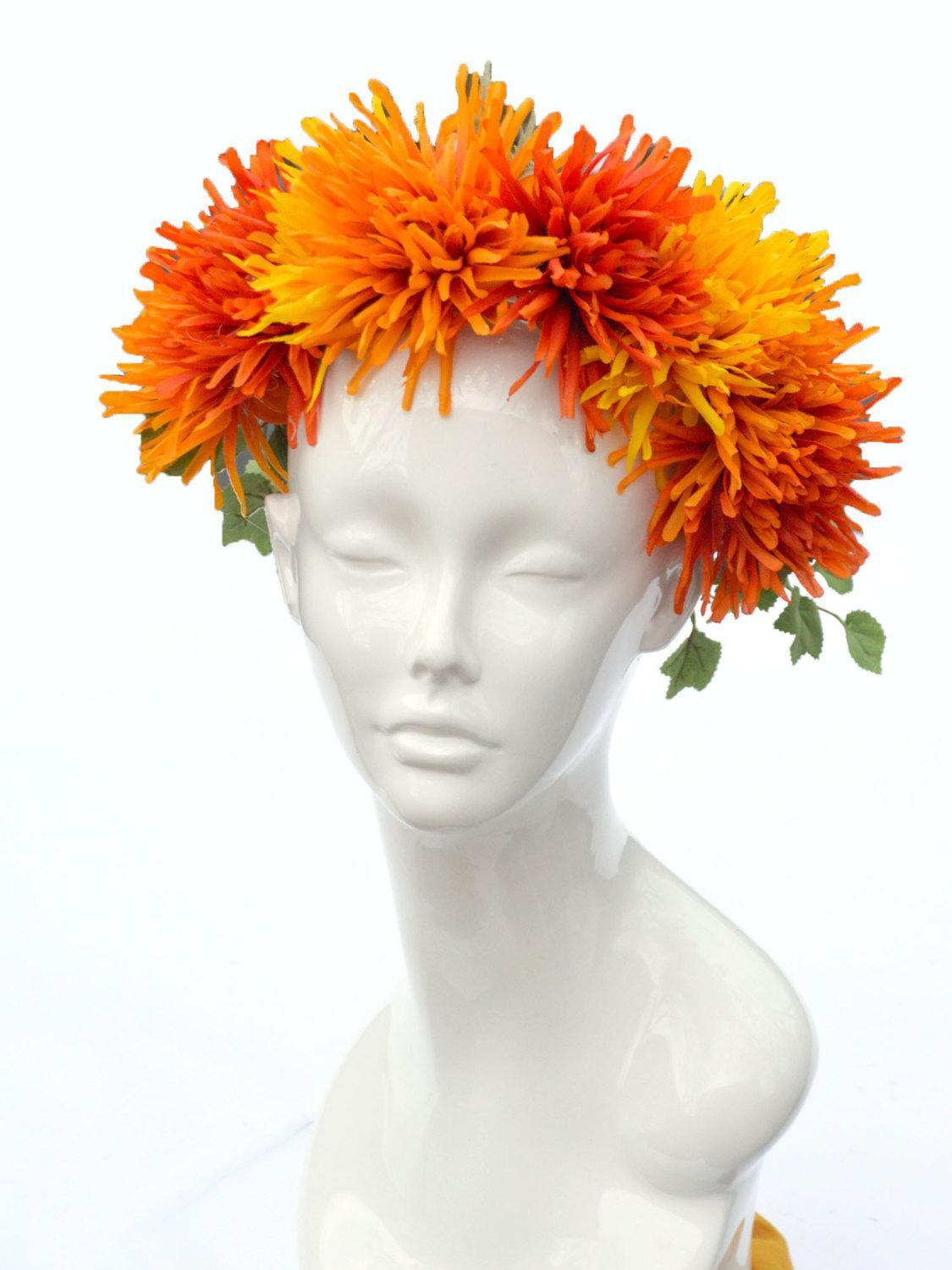 orange and yellow chrysanthemum flower crown
