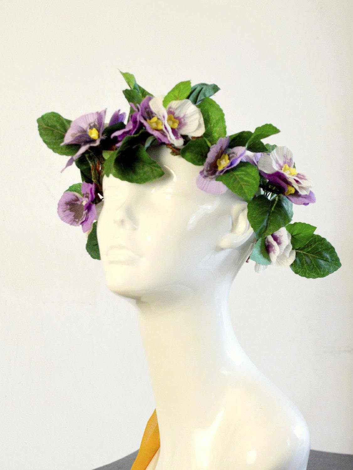 bohemian wedding crown in purple and green