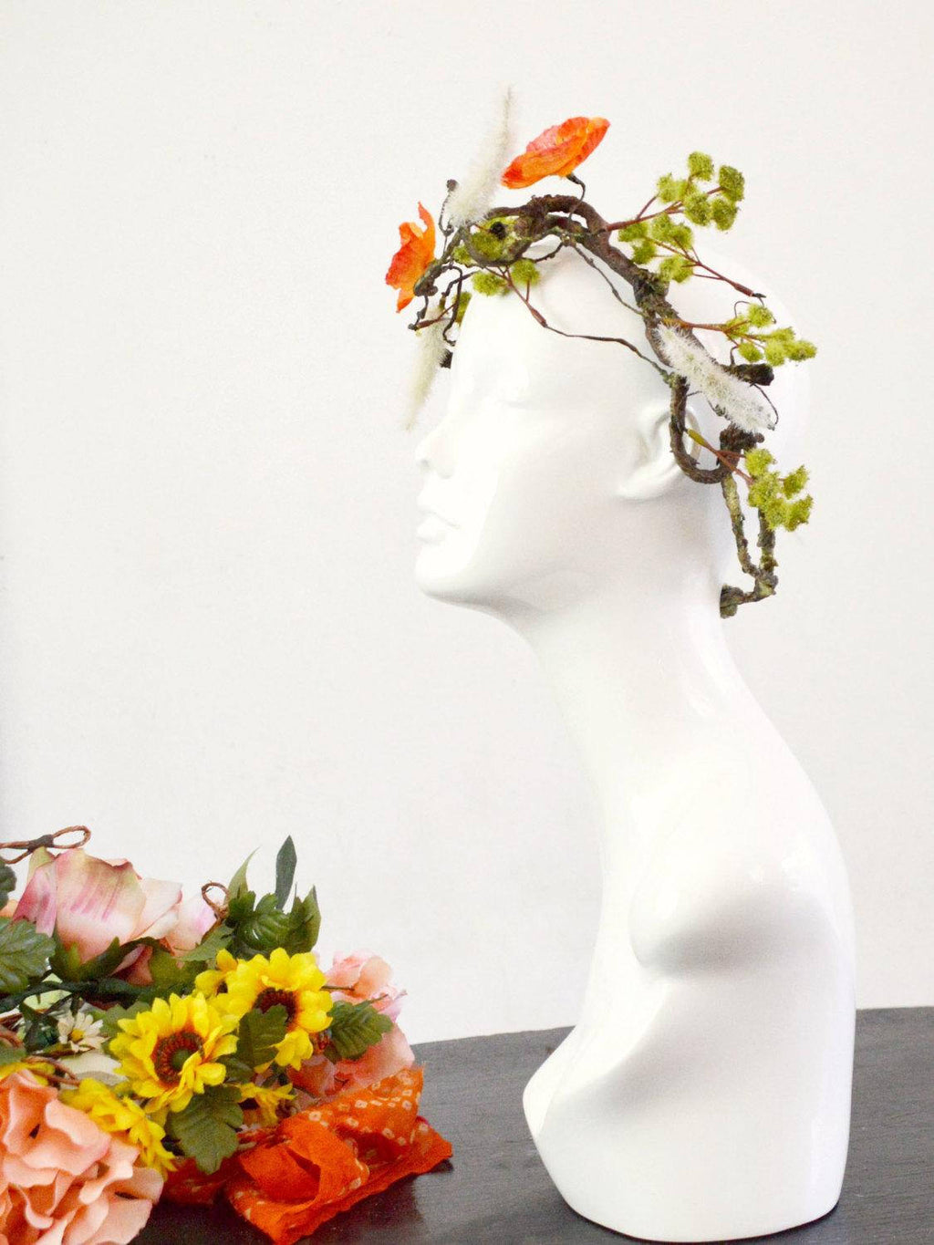 orange and green poppy flower crown