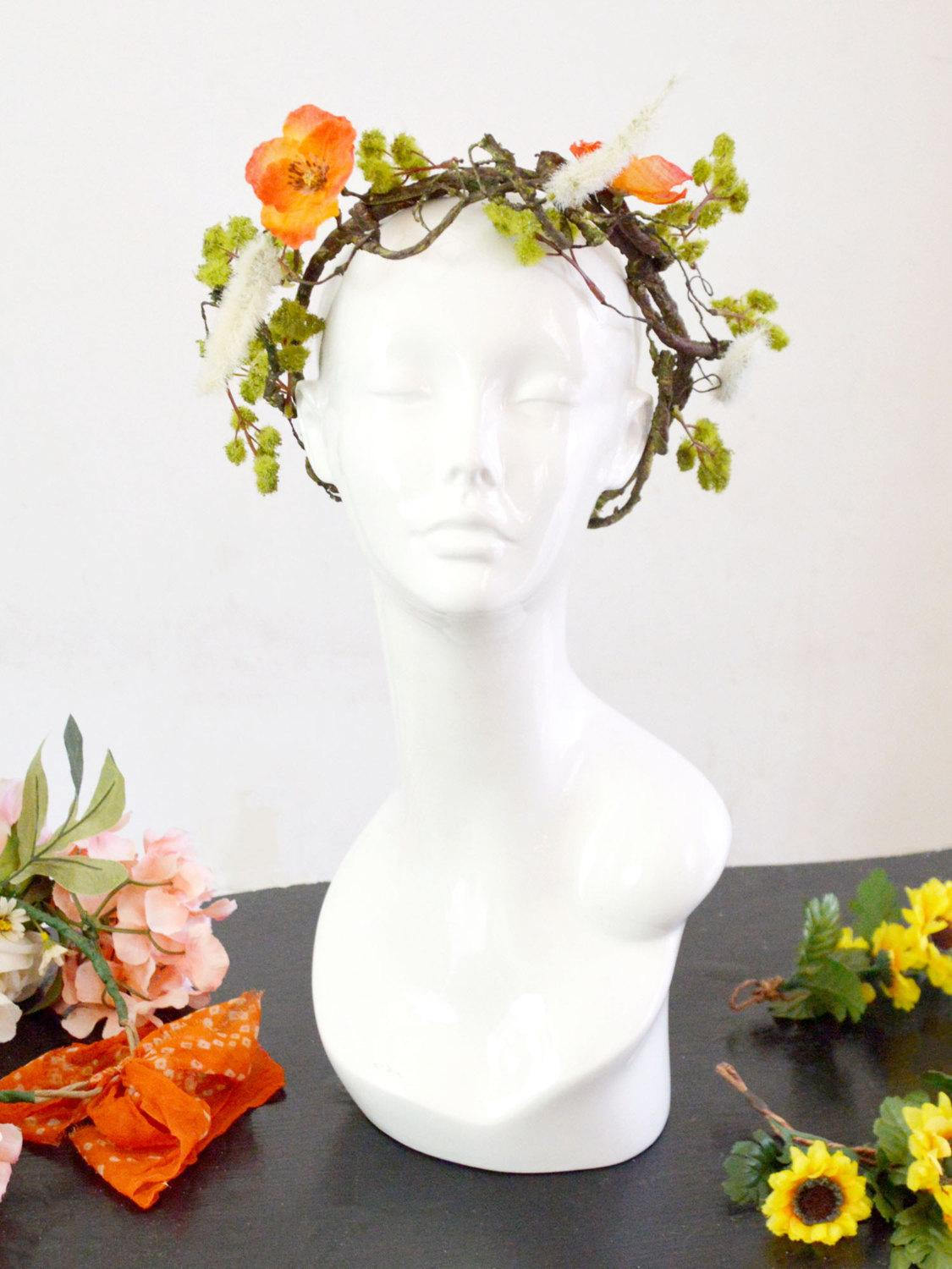 orange and green floral wedding crown